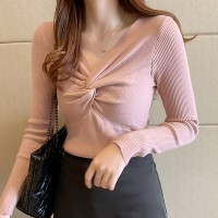 Knotted Bust Ribbed Full Sleeved Top - Pink