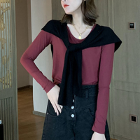 Round Neck Full Sleeves Casual Wear Blouse Top - Red