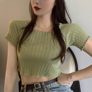 Ribbed Stretchable Sexy Wear Bodyfitted Crop Top - Green