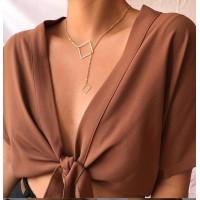 Girl Fashion Square Alloy Decorative Necklace - Golden