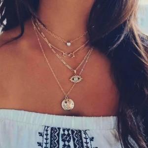 Ladies Rhinestone Decoration Multilayer Necklace - Golden