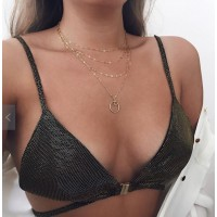 Ladies Simple Round Chain Multilayer Necklace - Golden