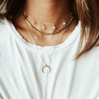 Ladies Simple Star And Moon Multilayer Necklace - Golden
