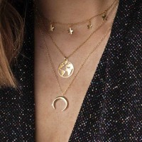 Ladies World Map And Moon Multilayer Necklace - Golden