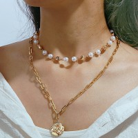 Girl Pearl Alloy Double Layer Fashion Necklace - Golden