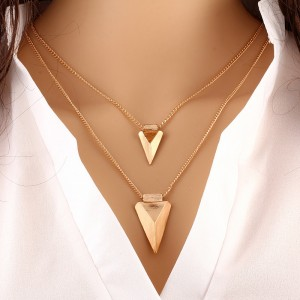 Multilayer Triangle Metal Clothing Accessory Necklace - Golden