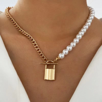 Pearl Decorative Lock Pendant Style Necklace Chain
