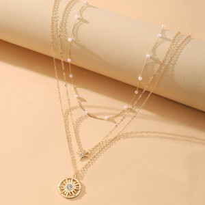 Gold Plated Women Fashion Three Layered Necklace