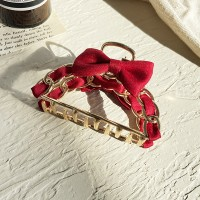 Bow Patched Party Wear Women Hair Clip Catcher - Red
