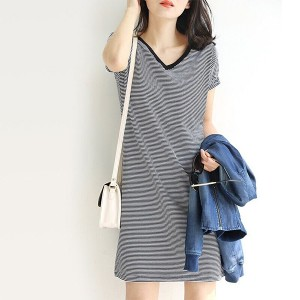 V Neck Short Sleeved Stripes Print Mini Dress