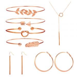Braid Style Seven Pieces Boho Jewellery Set - Rose Gold