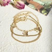 Gold Plated Butterfly Pentant Multi Layer Bracelets - Golden
