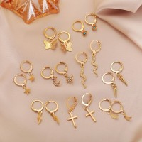 Nine Pairs Gold Plated Women Fashion Earrings Set