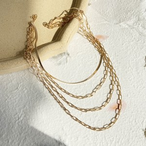 Braid Gold Plated Four Layered Neck Chain