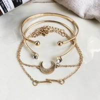 Gold Plated Four Pieces Crystal Bracelets Set - Golden