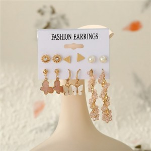 Gold Plated Carved Women Fashion Earrings Set - Golden