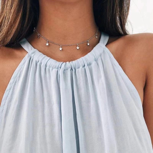Silver Plated Stars Pendant Choker Necklace - Silver