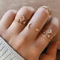 Ladies Fashion Rhinestone Rings Set 7 Pieces - Golden