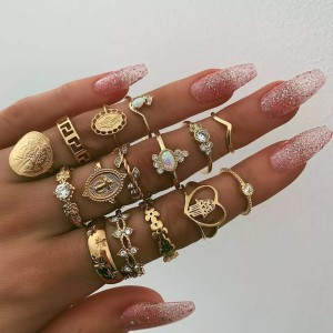 Ladies Crystal Alloy Rings Set 15 Pieces - Golden