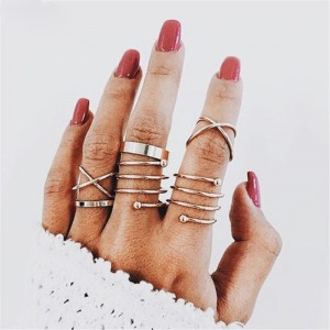 Girls Simple Alloy Ring Set 6 Pieces - Golden