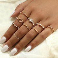 Women Fashion Crystal And Alloy Ring Set 9 Pieces - Golden