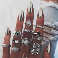 Women Fashion Retro Ring Set 10 Pieces - Black Silver