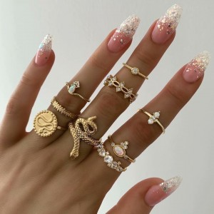 Women Fashion Snake Type Crystal Ring Set 9 Pieces - Golden