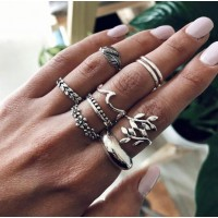 Women Fashion Flower Alloy Ring Set 9 Pieces - Silver