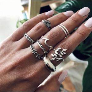 Women Fashion Flower Alloy Ring Set 9 Pieces - Silver