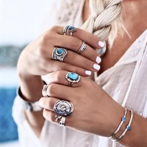 Ladies Fashion Turquoise Alloy Ring Set 8 Pieces - Silver