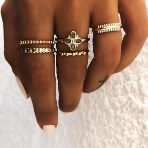 Ladies Fashion Alloy Dripping Oil Rings Set 5 Pieces - Black Gold