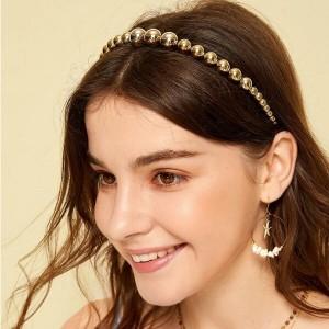 Elegant Round Bead Hair Band For Girls - Golden