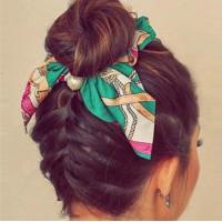 Pearl Pendant Women Bow Hair Tie - Green
