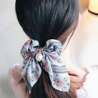 Pearl Pendant Women Bow Hair Tie - Sky Blue