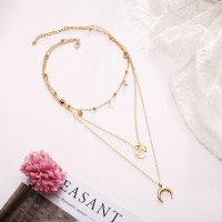Girls Moon Alloy Multi Layer Necklaces - Golden