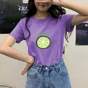 Lemon Printed Women Fashion Round Neck Short Sleeved T-Shirt - Purple