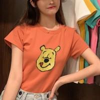 Pooh Cartoon Printed Round Neck Short Sleeves T-Shirt - Orange