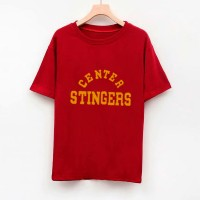 Text Printed Round Neck Short Sleeves T-Shirt - Dark Red