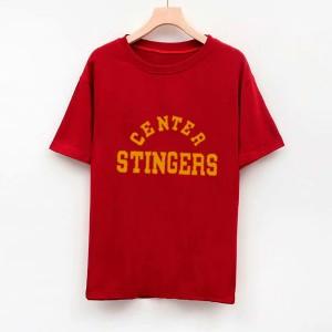 Text Printed Round Neck Short Sleeves T-Shirt - Dark Red