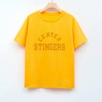 Text Printed Round Neck Short Sleeves T-Shirt - Yellow