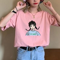 Graphical Printed Round Neck Short Sleeves T-Shirt - Pink