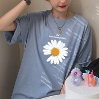 Floral Printed Round Neck Short Sleeves T-Shirt - Blue