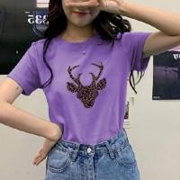 Deer Printed Round Neck Short Sleeves T-Shirt - Purple