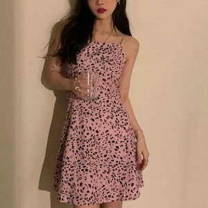 Spaghetti Strapped Body Fitted A-Line Mini Dress - Pink