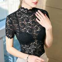 Lace Stand Wavy Neck Formal Wear Elegant Blouse Top - Black