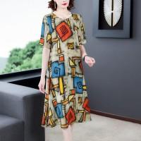 Round Neck Graphical Printed Midi Dress