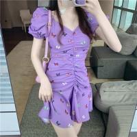 Butterfly Prints Doll Shoulder V Neck Casual Wear Mini Dress - Purple