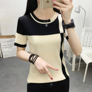 Ribbed Round Neck Short Sleeves Comfy Wear Top - Apricot
