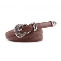 Woman Fashion Decorative Carved Belt - Coffee