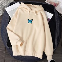 Butterfly Digital Print Loose Wear Winter Hoodie Top - Apricot